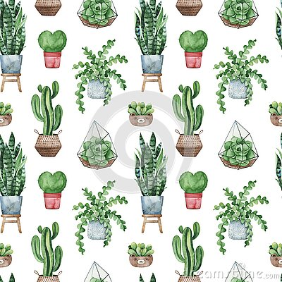 Watercolor potted plants texture