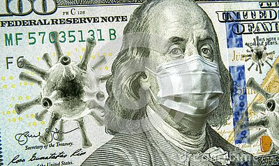 COVID-19, business and financial crisis concept, dollar money bill with coronavirus icons, 3D illustration. COVID impacts global
