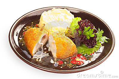 Kiev cutlet with mashed potato