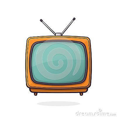 Vector illustration. Analogue retro TV with antenna and orange plastic body. Television box for news and show translation