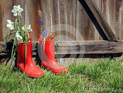 Red rubber boots with flowers on wood