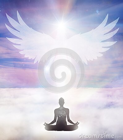 Spiritual guidance, Angel of light and love, avatar being, miracle on sky, angelic wings