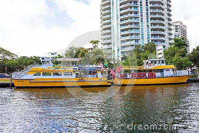 Fort Lauderdale - December 11, 2019: Cityscape view of the popular Las Olas Riverwalk downtown district