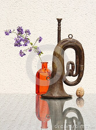 Still life with flower and old bugle