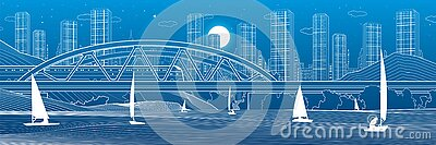 Railway bridge over the river. Train rides. Sailing boats on the water. Outline urban illustration. Evening city scene. Town citys