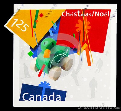 Postage stamp printed in Canada shows Wooden Duck Pull Toy, Christmas, Gifts serie, circa 2003