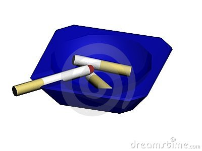 Blue ash tray with cigs