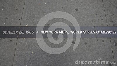 Granite strip commemorates the New York Mets championship in the World Series ticker-tape parade held along the `Canyon of Heroes