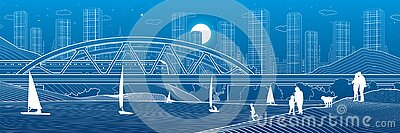 Railway bridge over the river. Train rides. Sailing boats on the water. people at shore. Outline urban illustration. Evening city