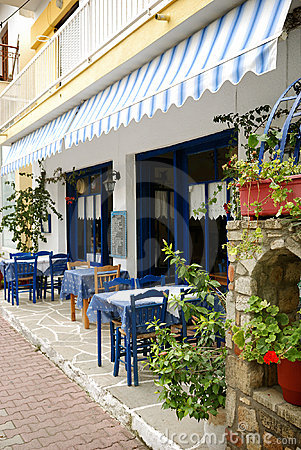 Outdoor cafe in greek town