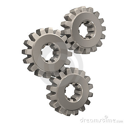 Three nickel gears meshing together