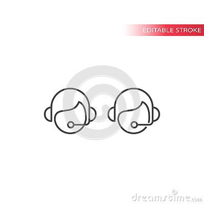 Call center operator, online support assistance with headset and mic thin line vector icon.