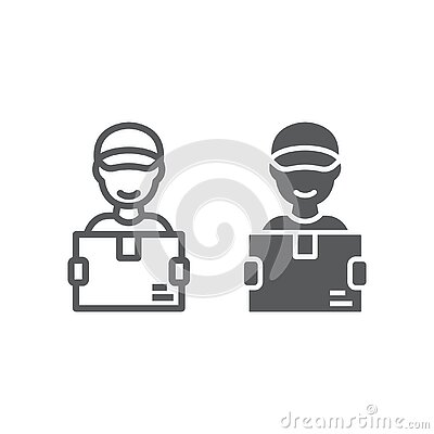 Delivery man line and glyph icon, courier and delivery, man holding box sign vector graphics, a linear icon on a white