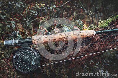 Fly fishing salmon flies. Fly fishing rod and reel