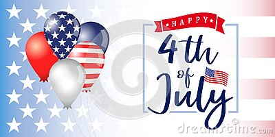 4 of July Independence day USA banner with balloons