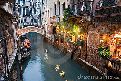 Venice Canal at Night Italy