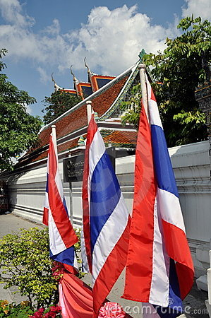 Bangkok, Thailand: Thai Flags at Wat Po