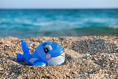Funny toy fish at the beach