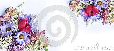 Spring bouquet of pink tulips and purple chrysanthemums on a white background. Delicate flower arrangement.