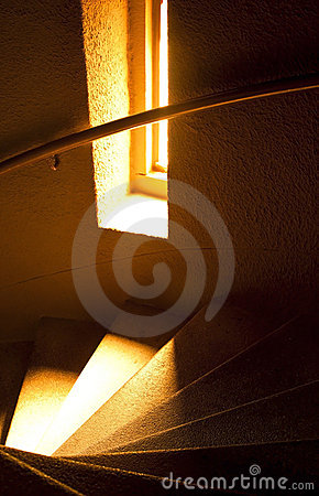Spiral marble staircase in soft light