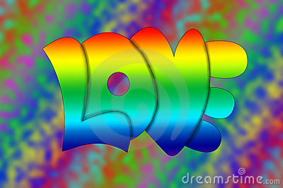 Hippie Rainbow 1960's Stlye Love Letters, Text