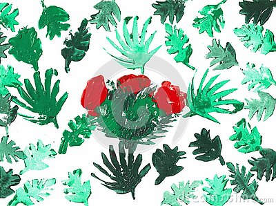 Green Palm Leaves with a Cactus with a Red Blossom, Print
