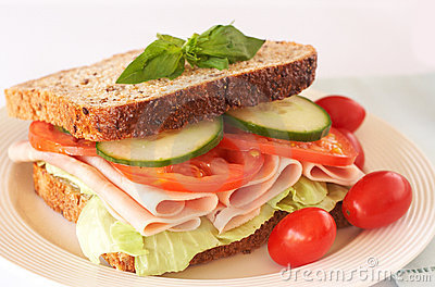 Tasty ham, tomato and cucumber sandwich
