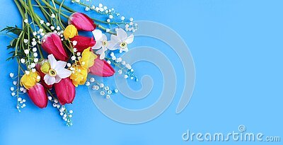 Tulips, daffodils and lilies of the valley on a blue background. Spring flower arrangement. The view from the top.