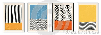 Set of minimal 20s geometric design posters, vector template with primitive shapes elements