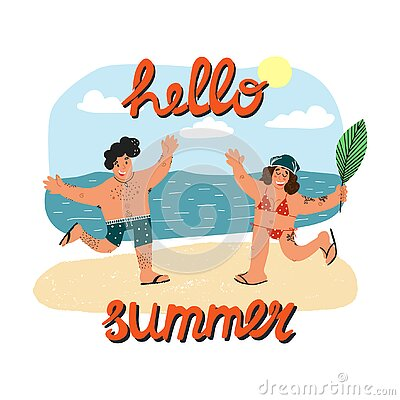 Happy guy in polka dot swim briefs and his girlfriend in bikini running on the sand with hands up.Hello summer lettering
