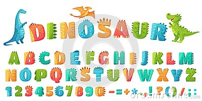 Cartoon dino font. Dinosaur alphabet letters and numbers, funny dinos letter signs for nursery or kindergarten kids