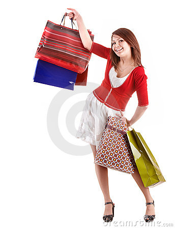 Shopping girl with group bag.