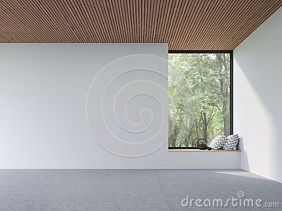 Mininal contemporary style empty room 3d render
