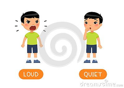 Educational word card with opposites. Antonyms concept, LOUD and QUIET.