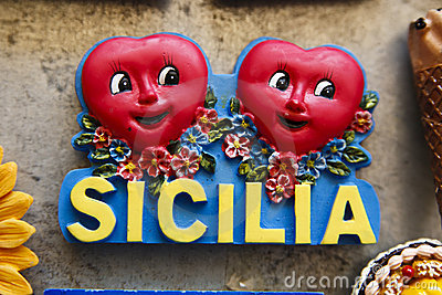Sicilia with red hearts