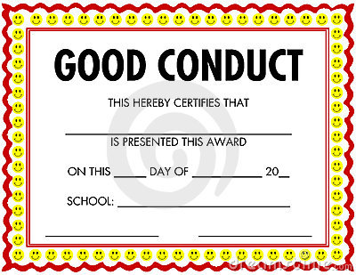 Award certificate good conduct yelopaper Choice Image