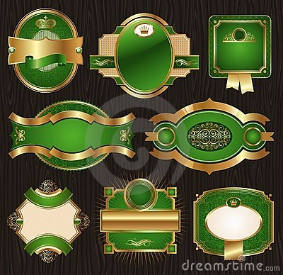 Vintage golden-green luxury ornate framed labels