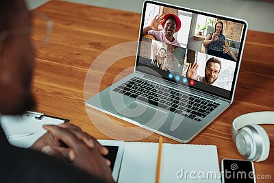 Man participate video conference looking at laptop screen during virtual meeting, videocall webcam app for business