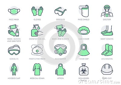 Medical PPE line icons. Vector illustration included icon as face mask, gloves, doctor gown, hair cover, biohazard waste