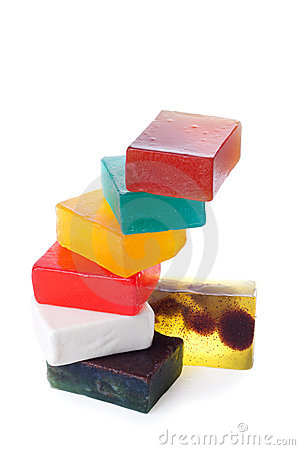 Stack of wet soap | Isolated