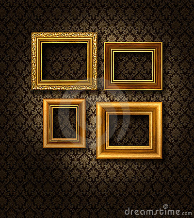 Gold Frames Damask Wall