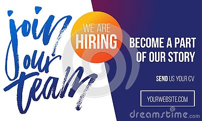 Join our team recruitment design poster. We are hiring banner or poster template