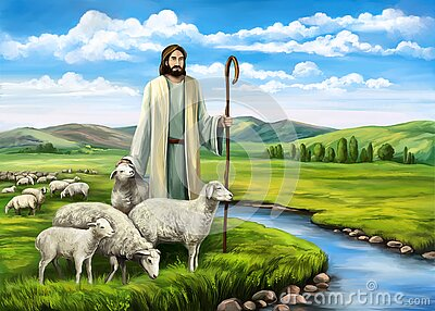 Son of God, the Lord is my shepherd, Jesus Christ with a flock of sheep, symbol of Christianity hand drawn art