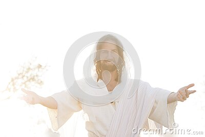 Jesus Christ Smiles From Heaven with Arms outstretched  in Light