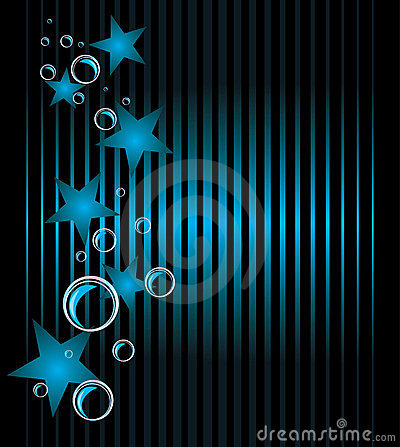 Blue stars and bubbles. Abstract background