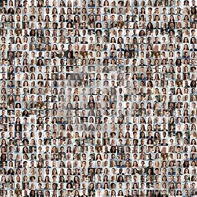 Lot of different multiracial people faces in square collage mosaic