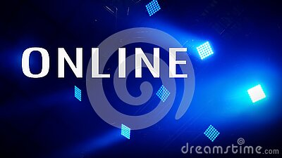 Word ONLINE on spotlight with lawer rays. Event online. Stage Spotlight with Laser rays. Scene, stage light with colored