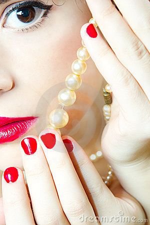 Woman Eye and pearls