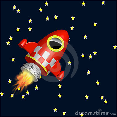 Little red rocket ship flying in the universe