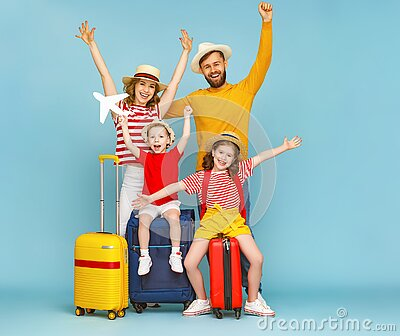 Modern happy family are glad of the upcoming summer trip